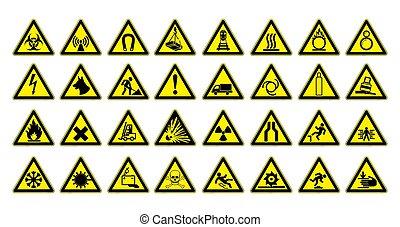 nagy, háromszög, image., set., sárga, workplace., vektor, biztonság, cégtábla, fekete, figyelmeztetés, illustration.