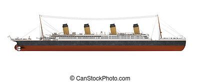 nagy, hajó, lejtő, személyszállító hajó, kilátás