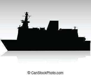 nagy, hajó, vektor, fekete, árnykép