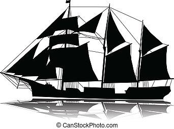 nagy, hajó, vitorlázás