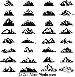 nagy, hegy, embléma, tervezés, jel, cégtábla., címke, ikonok, elszigetelt, állhatatos, fehér, alapismeretek, háttér.
