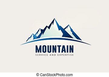 nagy, hegy, jel, csúcs, horizon.