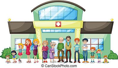 nagy, kórház, kívül, család