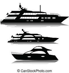 nagy, körvonal, vektor, jacht