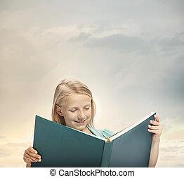 nagy, kevés, könyv, lány olvas