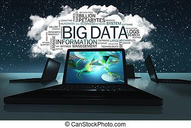 nagy, kikötések, felhő, szó, adatok