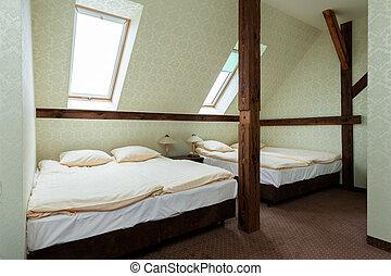 nagy, meleg, hotel, szoba