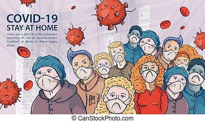 nagy, nagyon, körvonal, ábra, maszk, coronavirus, figyelmeztetés, covind, felírás, tolong, molekulák, 2019-ncov, emberek, vírus, piros, orvosi