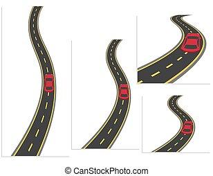 nagy sebességű, különböző, állhatatos, út, autók, anyag, ábra, autó., közútak, angles., autóút, design.