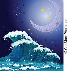 nagy, szikrázó, lenget, fényes, csillaggal díszít, alatt, hold