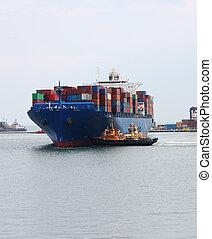 nagy, teherhajó, konténer
