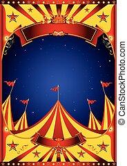 nagy tető, cirkusz, ég, éjszaka