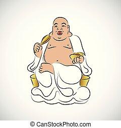 nagy, thai ember, buddha, szobor, arany-