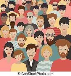nagy, vector., tolong, különböző, emberek., csoport
