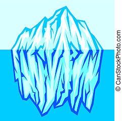 nagy, vektor, jéghegy, tenger, ábra