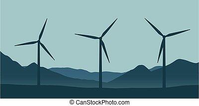 nagy windmills, táj, sebesülés energia, természet