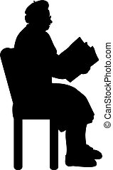nagyanyó, könyv, árnykép, felolvasás, senior woman
