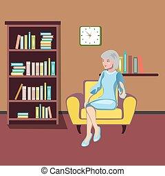 nagyanya, őt ül, armchair.