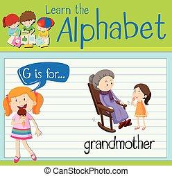 nagyanya, flashcard, levél g
