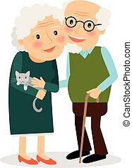 nagyanya, grandfather., öreg, párosít.