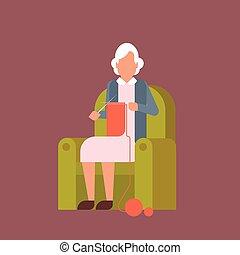 nagyanya, karosszék, ülés, kniting