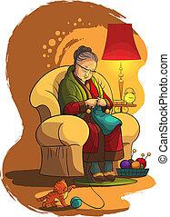 nagyanya, karosszék, knittin