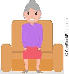 nagyanya, karosszék, vektor, karikatúra, ülés