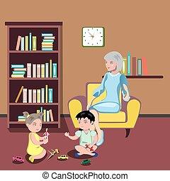nagyanya, szék, gyerekek, ülés