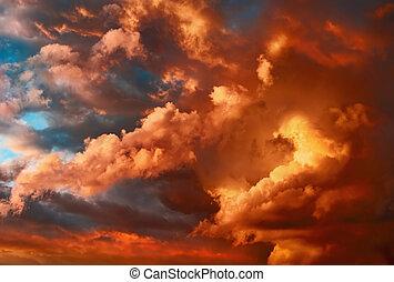 nagyon, cloudscape, drámai, napnyugta