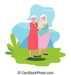 nagyszülők, boldog, tervezés, nap, lakás
