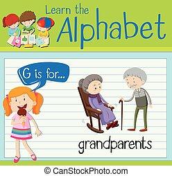 nagyszülők, levél g, flashcard