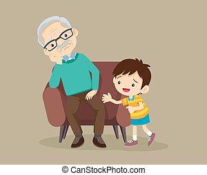 nagyszülők, pamlag, ülés, unokák, bús