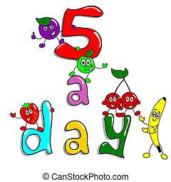 nap, 5, étkezési, egészséges, karikatúra