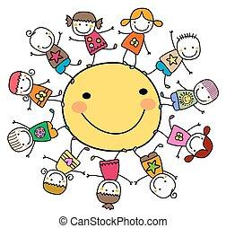 nap, boldog, gyerekek, mindenfelé, játék