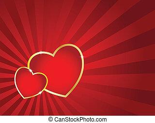 nap, card., csíkos, piros, két, arany-, vektor, háttér., valentine's, ütés