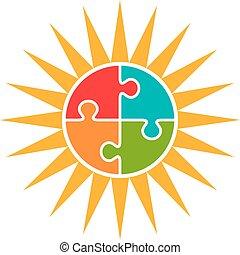 nap, concept., autism, vektor, jel, rejtvény