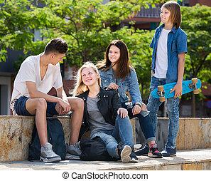 nap, csoport, mosolygós, liget, tizenéves, nyár