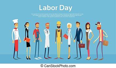 nap, emberek, különböző, állhatatos, munka, nemzetközi, foglalkozás, csoport