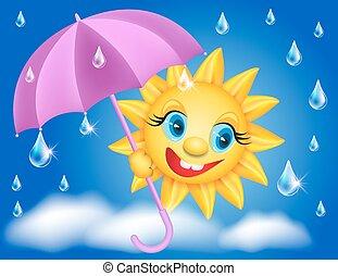 nap, esernyő, esőcseppek