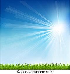 nap, fű, zöld, gerenda