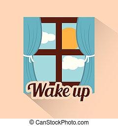nap feláll, reggel, ablak, ébred, nap, felhő