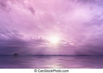 nap, felett, ég, felhős, óceán