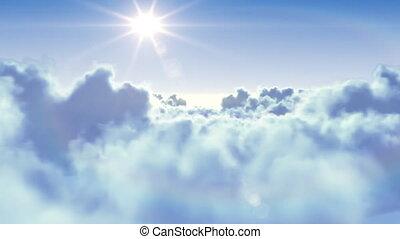 nap, felett, repülés, elhomályosul