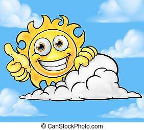 nap, felhő, karikatúra, háttér, kabala