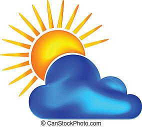 nap, felhős, napos, jel, vektor