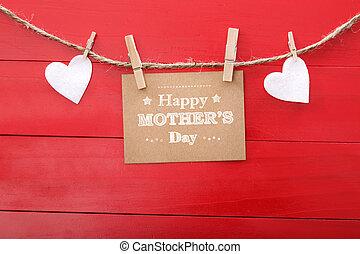 nap, filc, anyák, üzenet, piros, függő, ruhaszárító csipeszek