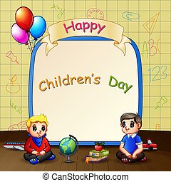 nap, gyerekek, boldog, gyermekek, ülés