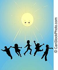 nap, gyerekek, játék, boldog
