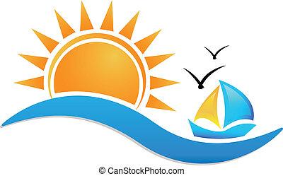 nap, hajó, ikon, tenger, jel