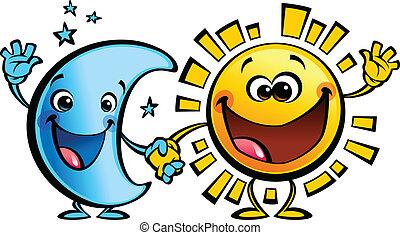nap, hold, betűk, csecsemő, barátok, karikatúra, legjobb